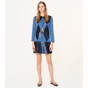 NWT Tory Burch Lantilly blue sequin diamond dress